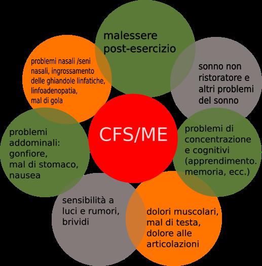 Una infografica riassuntiva della CFS/ME, sintomi che coinvolgono le attività cerebrali , il dolore ed il sonno.