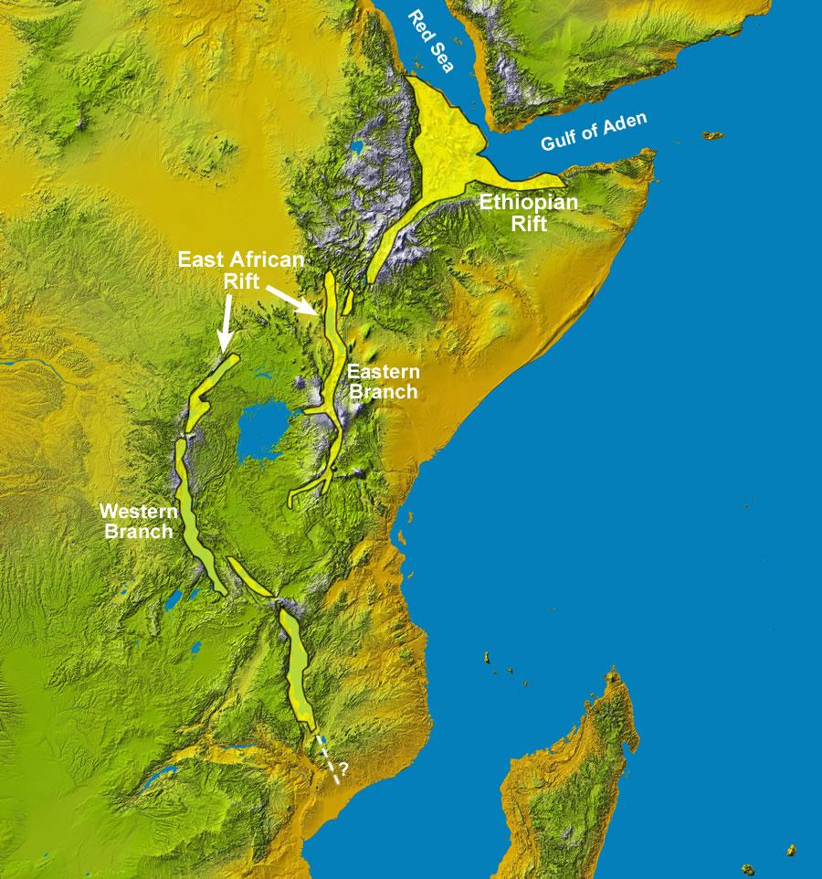La zona della rift africana.