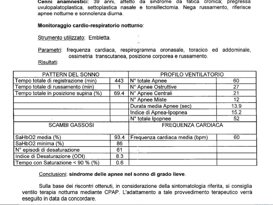 Il referto della polisonnografia a Padova che consigliò l'uso del CPAP che si è rivelato dannosissimo nel mio caso.
